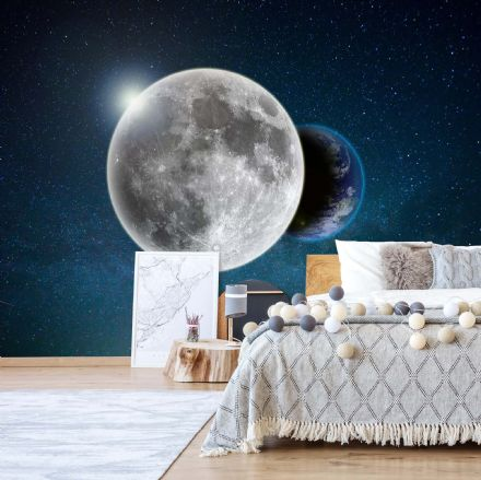 Earth behind the Moon paper photo wallpaper
